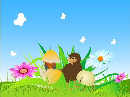 chickens with flowers and butterflies Stock Photo - 3309416