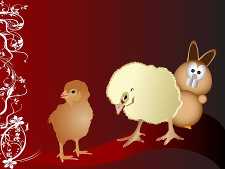 chicks and bunny photo