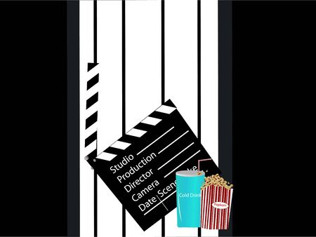 photography backdrop: clapperboard ,softdrink and popcorn