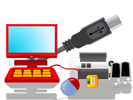 computer equipments on isolated background     photo