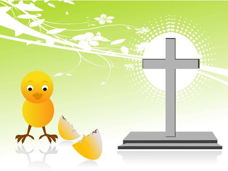 chick with broken egg and cross Stock Photo - 3308953