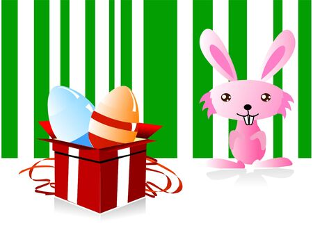eggs with gift box and rabbit photo