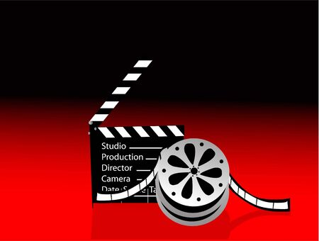 clapperboard and reel on gradient background