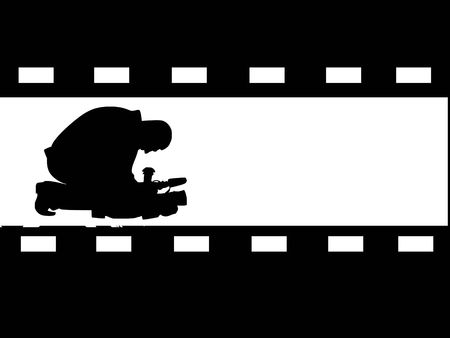 silhouette of filmmaker on abstract background