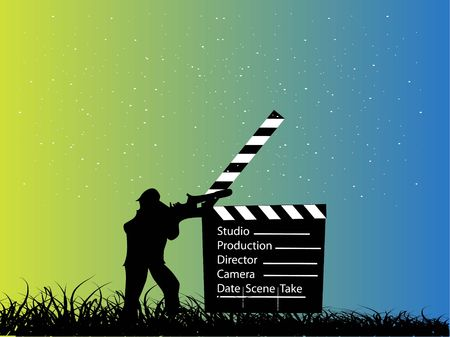 photography backdrop: director with clapperboard on gradient background