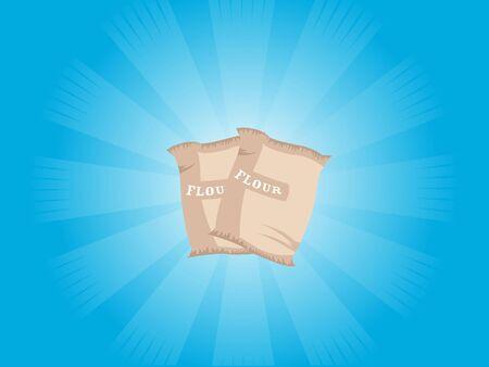 flour bags on sunburst background