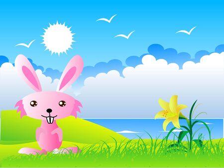 rabbit,flower,birds and sky photo