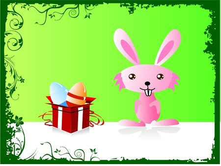 gift box with egg and rabbit photo