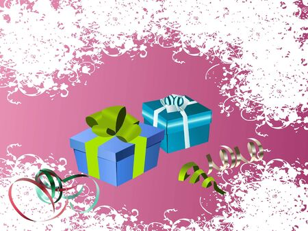 gifts and ribbons on grungy background   photo