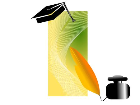 ink-pot witth feather and mortarboard     photo