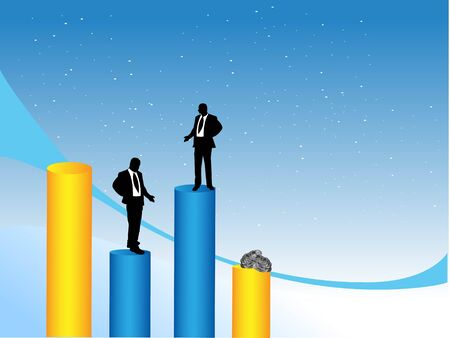businessmen over bars on dotted gradient background\r\n