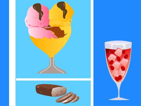 ice-cream ,cake and drink in glass