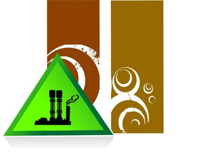 industry inside triangle on striped background