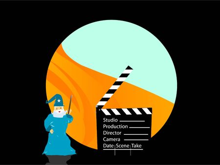 magician and clapper board on circular abstract background  Stok Fotoğraf