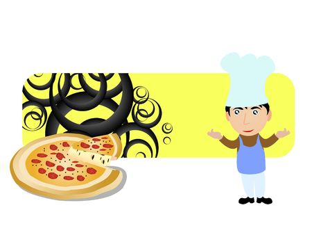 chef and pizza in circular   photo