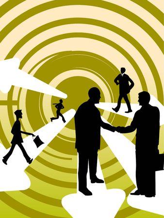 gente comunicandose: gente de negocios circular sobre la comunicaci�n de antecedentes  Foto de archivo