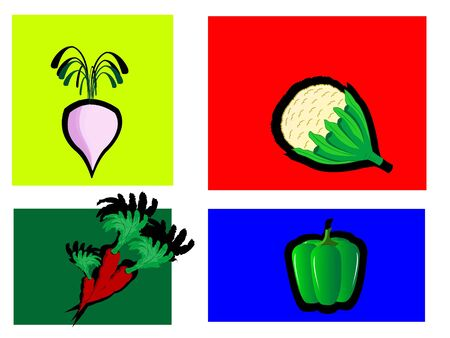 fresh vegetables on colorful background