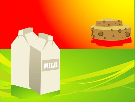 milk and chees on gradient background