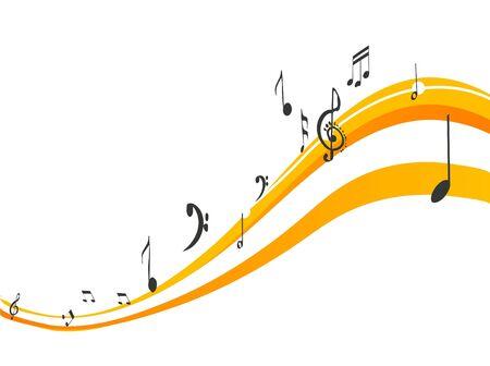 Muzieknoten op swirls Stockfoto - 3308262