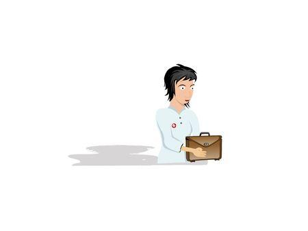 nurse with bag on isolated background  Stock Photo - 3307337