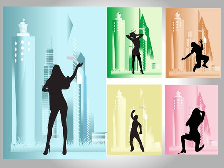 people dancing near buildings in different poses   photo