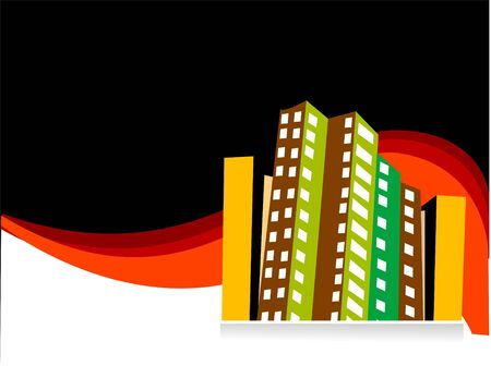 residencial: buildings on swirly dark background