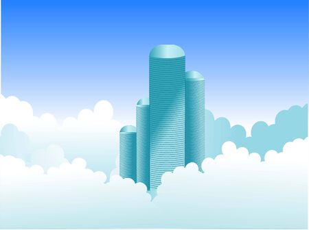 appartment: skyscrapers in clouds
