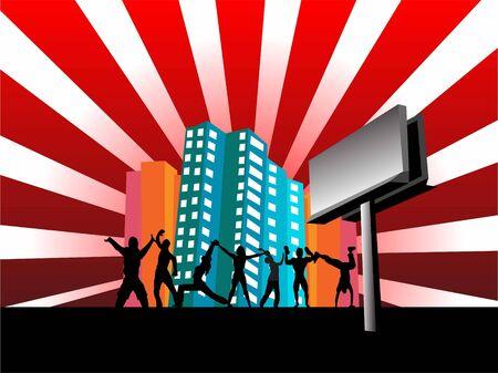 햇살 배경 건물 근처에서 춤을 추는 사람들
