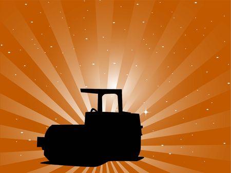 sparkled: bulldozer on sparkled sunburst background