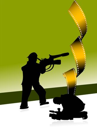 photography backdrop: cameramen with movie reel on gradient background