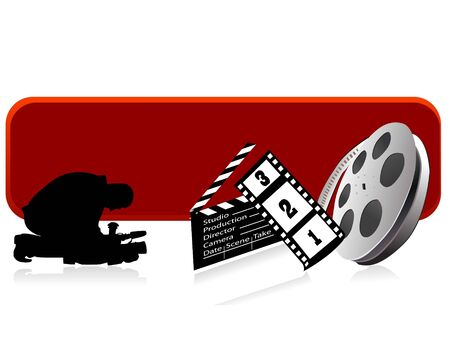 cameraman,roll and clapper board on text-template   Stockfoto