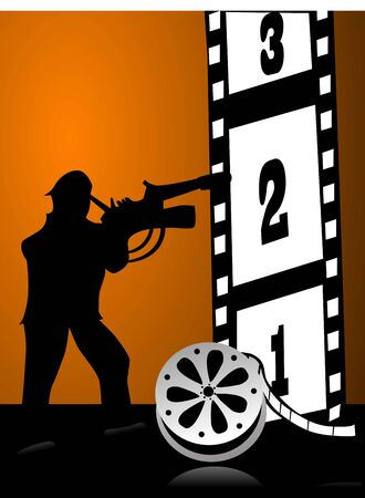 photography backdrop: cameraman with reel on gradient background