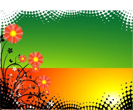 beautiful flowers on colourful background in halftone frame   photo
