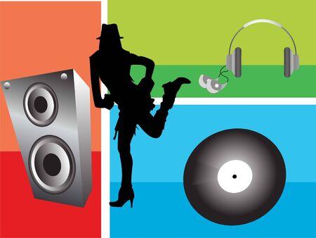 Lady dansen met muziek op abstracte achtergrond   Stockfoto - 3308739