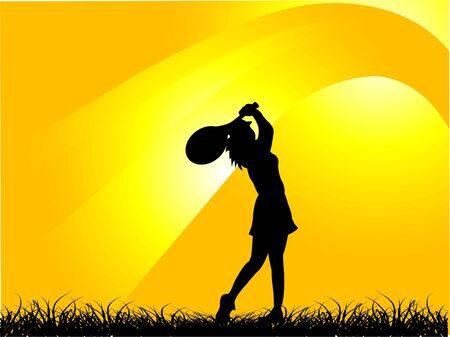 racquet: woman with racquet on gradient background     Stock Photo