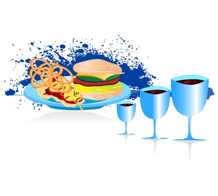 tasteful: burger in plate with drinks on isolated background     Stock Photo