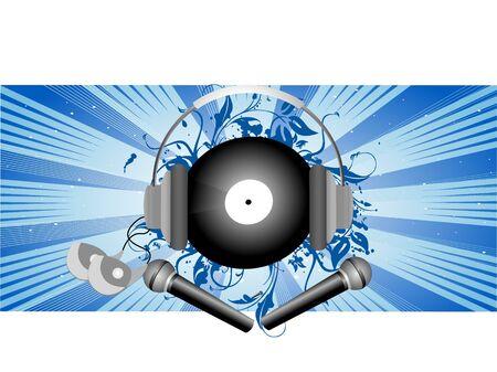 Casque et microphone sur fond floral  Banque d'images - 3309664