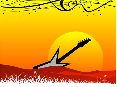 guitar on natural background