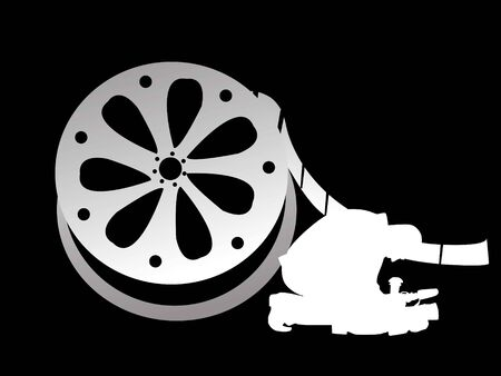film industry: cameraman with reel on abstract background