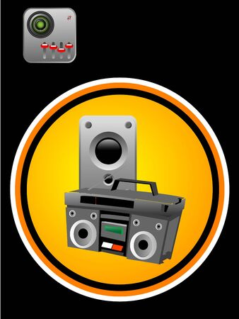 tape recorder and mp3 on dark background  photo