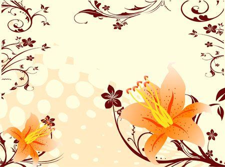 Gradiënt bloemen op swirly achtergrond Stockfoto - 3309569