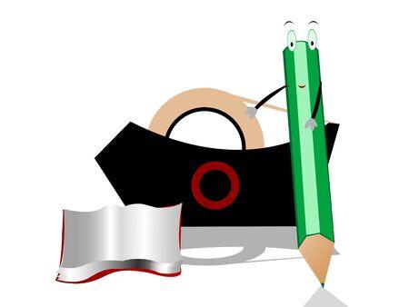 pencil,book and cello-tape Stok Fotoğraf - 3308060