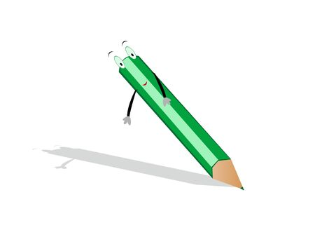 pencil with eyes and hands on isolated   background     photo