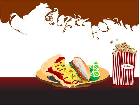 spicy junk food on swirly background     photo