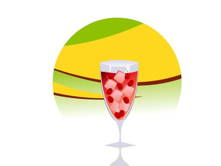 cooled: chilled drink with cherries on circular background