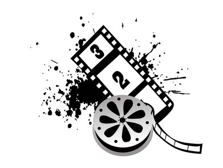movie reel with grunge   Stok Fotoğraf