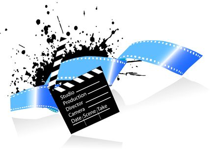 clapper board and negative with grunge