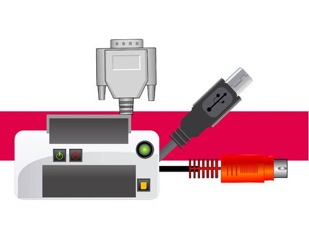 plugin: printer with cables on abstract background     Stock Photo