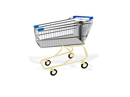 shopping trolly on isolated background
