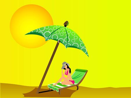 lady resting on chair under umbrella
